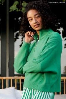 Tommy Hilfiger Green High Neck Zip Sweater