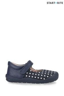 Start-Rite Joy Navy Polka Dot Nubuck First Shoes