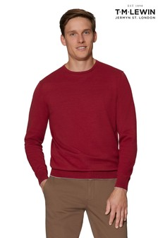 T.M. Lewin Mansell Red Cotton Crew Neck Slim Fit Jumper