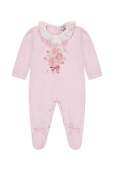 Monnalisa Baby Girls Pink Cotton Babygrow