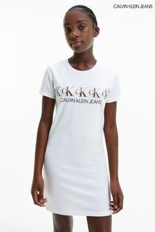 Calvin Klein Jeans White CK Foil T-Shirt Dress