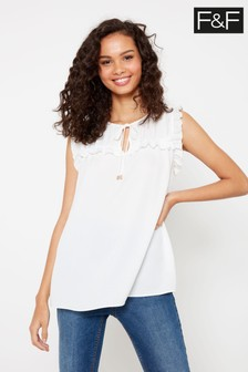 F&F Ivory Ruffle Sleeveless T-Shirt