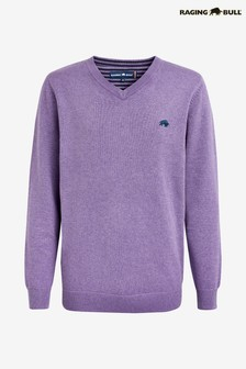 Raging Bull Cotton Cashmere V-Neck Jumper