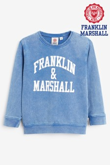 Franklin & Marshall Blue Vintage Arch Crew Sweat Top