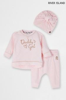 River Island Pink Light Daddy's Girl Turban Set