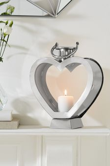 Heart Shaped Chrome Lantern