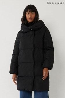 Warehouse Black Long Asymmetric Padded Coat