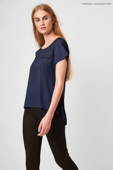French Connection Blue Classic Crepe Light Packet T-Shirt