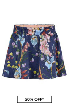 Girls Navy Organic Cotton Floral Skirt