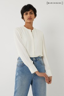 Warehouse Cream Grandad Collar Shirt