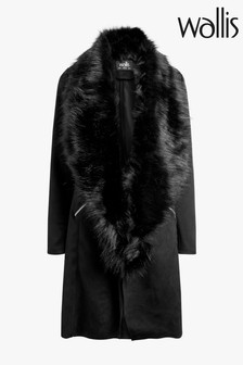 Wallis Black Faux Fur Collar Longline Suedette Jacket