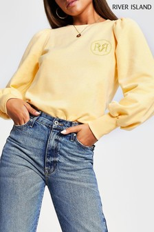 River Island Yellow Light Puff Sleeve Sign Off Sweater
