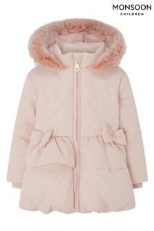 Monsoon Pink Sew Baby Padded Puffball Coat