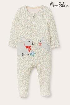 Boden Yellow Rose Organic Zip-up Sleepsuit