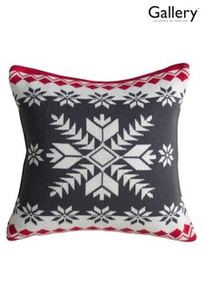 Gallery Direct Grey Knitted Fairisle Pattern Scandi Cushion