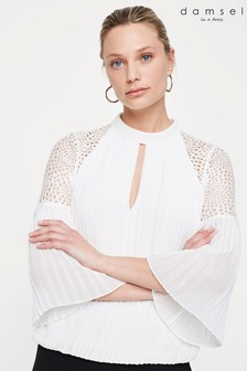 Damsel In A Dress Cream Penn Pleat Blouse