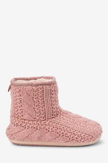 Cable Knitted Slipper Boots
