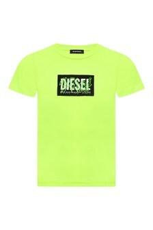 Diesel Boys Green Cotton T-Shirt