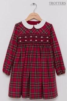 Trotters London Red Charlotte Smocked Tartan Dress
