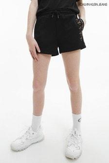 Calvin Klein Jeans Black CK Foil Knit Shorts