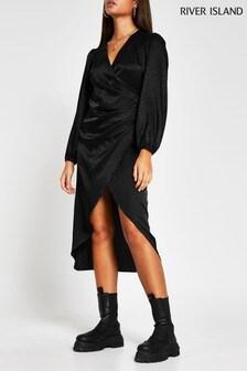 River Island Black Jacquard Wrap Button Dress