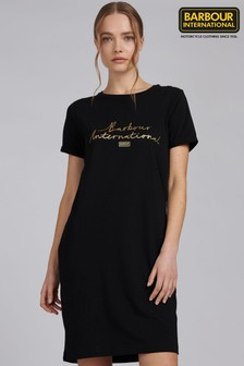 Barbour® International Black Metallic Logo Sitka T-Shirt Dress