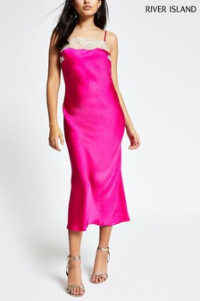 River Island Pink Ruby Square Neck Midi Slip Dress