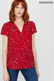 Monsoon Red Nima Print Zip Blouse