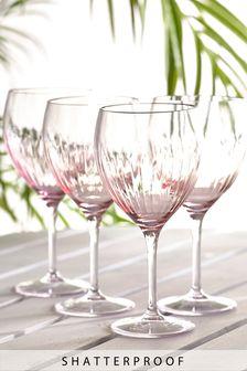 Pink Faceted Shatterproof Set of 4 Wine Glasses