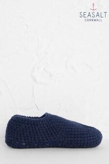 Seasalt Blue Quiet Room Slipper Socks