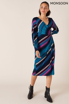 Monsoon Blue Stripe Print Wrap Midi Dress