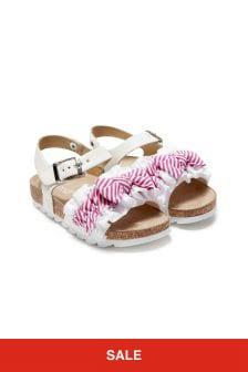 Monnalisa Girls White Cotton Sandals