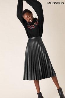 Monsoon Black Pleated PU Midi Skirt