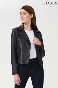 Hobbs Blue Tania Leather Jacket