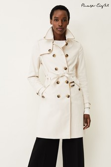 Phase Eight White Tali Tipped Trench Coat