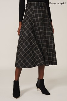 Phase Eight Black Check A Line Skirt