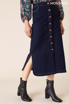 Monsoon Blue Organic Cotton Denim Midi Skirt