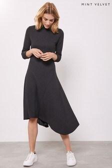 Mint Velvet Grey Button Detail Jersey Dress