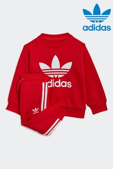 adidas Originals Infant Red Trefoil Crew And Jogger Set