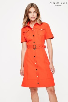 Damsel In A Dress Orange Marley Shirt Dress
