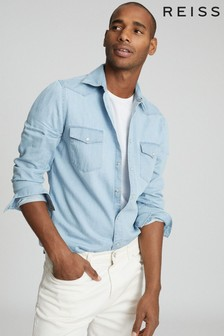 Reiss Blue Devlin Chambray Overshirt