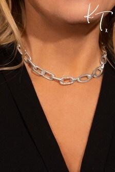 Kate Thornton Silver Chunky Pavé Link Chain Necklace