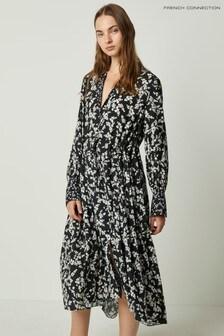 French Connection Black Bruna Light Midi Shirt Dress