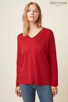 Great Plains Red Authie Knit V-Neck Jumper