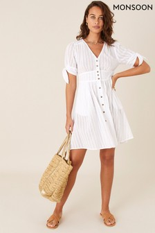 Monsoon Natural Button Through Cotton Dress