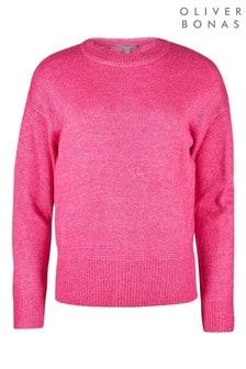 Oliver Bonas Stitch Detail Pink Knitted Jumper