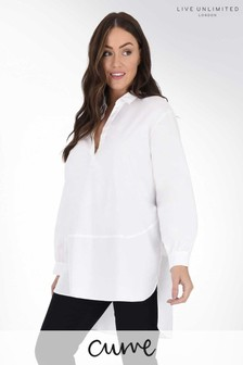 Live Unlimited Curve White Cotton Shirt With Seam Detail