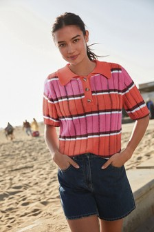 Short Sleeve Polo Knitted Top