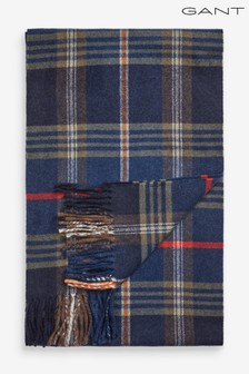 GANT Mens Navy Twill Checked Wool Scarf