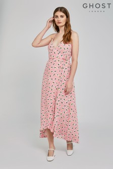 Ghost London Pink Bibi Bubble Flower Crepe Wrap Dress